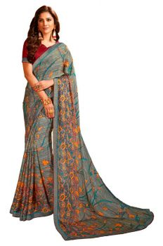 Georgette Premium Printed Saree with Boarder