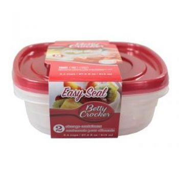 Food Storage Containers - Square / 815ml (Pack of 2) Microwave / Dishwasher & Freezer Safe (Betty Crocker)