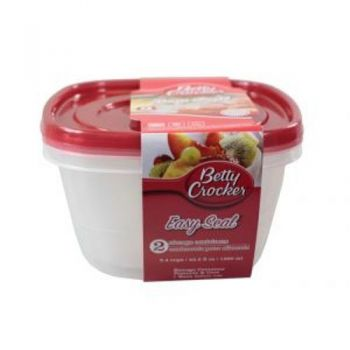 Food Storage Containers - Square / 1280ml (Pack of 2) Microwave / Dishwasher & Freezer Safe (Betty Crocker)
