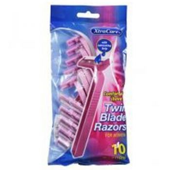 XtraCare Twin Blade Razors / Pack of 10 (For Women) With Lubricating Strip