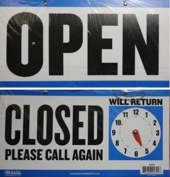 Bazic Sign / 15 x 29cm (Cloesd + Clock Sign & Open Sign On Back)