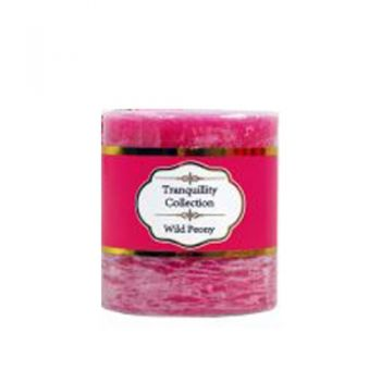 Tranquillity Collection Scented Pillar Candle / 7 x 7.5cm (Wild Peony) Approx 36 Hours