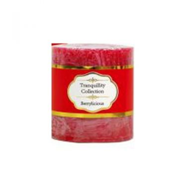 Tranquillity Collection Scented Pillar Candle / 7 x 7.5cm (Berrylicious) Approx 36 Hours