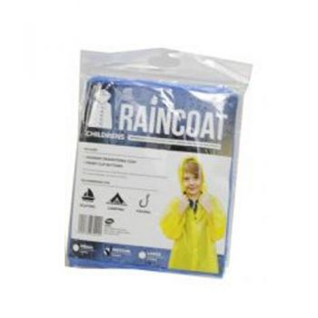 Childrens Raincoat With Hood / Assorted Colours (S/M/L Mixed Sizes in a Carton)(Hooded Drawstring Coat & 5 Front Clip Buttons)