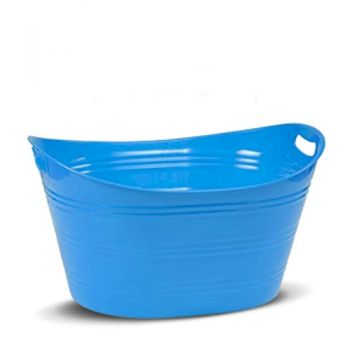 Plastic Storage Tub - Oval / 34x21x17cm (3 Assorted Colours: Green, Pink & Blue)