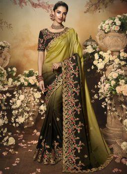 Suhani Padding Saree - Black With  Brown