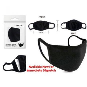 Reusable Fabric Face Mask - Black