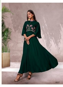 Vardan Designer Gown Kurti- Green– XXL