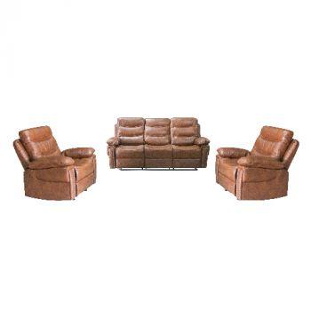Toronto Recliner Lounge Suite 3+1+1- Black Leather Aire - TRNTBLK311
