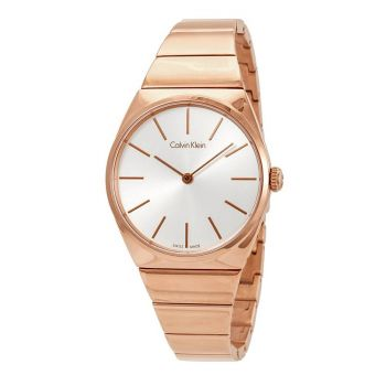 Calvin Klein Supreme Silver Dial Rose Gold PVD Ladies Watch