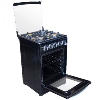 Kitchen Mate - 4 Burner Gas Stove with Oven 50 x 50 - Black - LAC-203