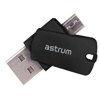 Astrum 2 in 1 OTG Card Reader for PC/Mobile - Black